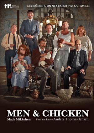 men & chicken affiche